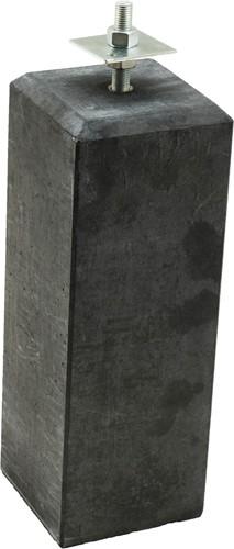 Betonpoer M 15 x 15 x 58 cm, antraciet, gecoat, schroefdraad M20. Accessoires tuinverblijven